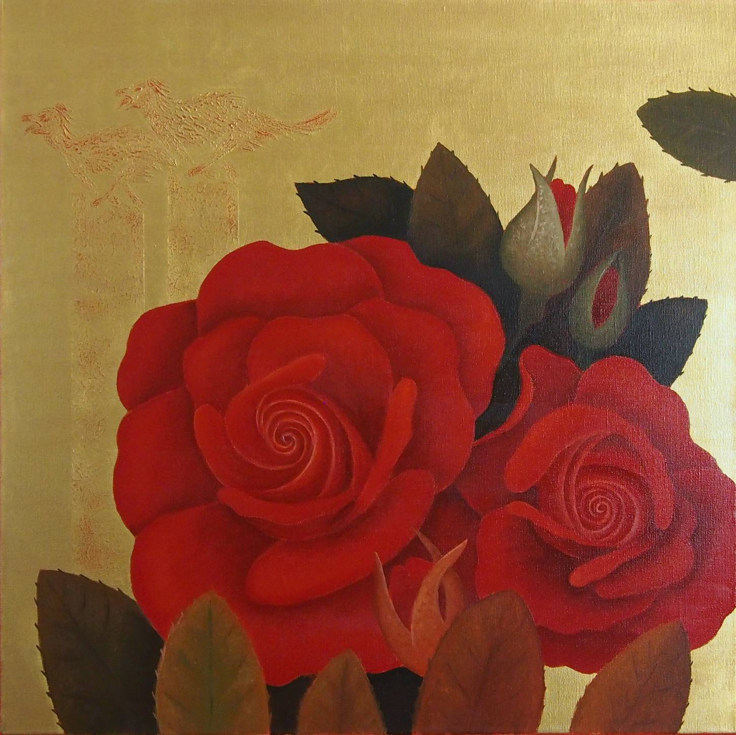 "MS_706 ""Rose Red Dogs"" 80 x 80 cm, 20.000,- €"